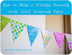 Easy DIY Paper Triangle Bunting (Banner) Tutorial by www.RaisingMemories.com