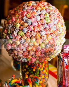 Lollipop tree By: Me  ((Ryleigh's Rainbow Party #rainbowparty #partyideas #rainbow #diy #6thbirthday))