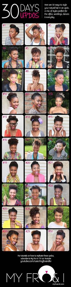 30 Protective Styles for Short Natural Hair  Here are all 30 styles…For detailed views of each style see:  1-10, 12-21, and 22-30. Check out MyFroandITV for video tutorials.  Our favorite styles Cameil:  # 2, 5, 6, 12, 21, 26 Saenya: # 2, 5, 6, 16, 21  Which syle(s) is your favorite?