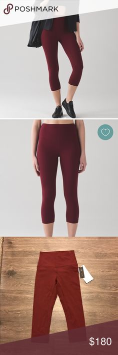 lululemon Deep Rouge Align Crop size 4 New with tags, never been worn, limited edition lululemon Align Crops in Deep Rouge size 4. Buttery soft Nulu fabric gives naked sensation lululemon athletica Pants Capris