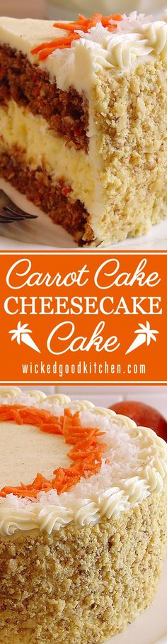 Carrot Cake Cheesecake Cake Bakery Style ~ Perfectly moist and flavorful carrot cake layered with the creamiest cheesecake and frosted with Best Ever Cream Cheese Buttercream. Perfect for Easter! Recipe is complete with step-by-step photos and instructions. Everyone will LOVE this fabulous cake!