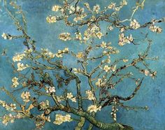 Vincent van Gogh (Dutch, Post-Impressionism, 1853-1890): Almond Blossom (Branches with Almond Blossom), 1890. Created in Auvers-sur-oise, France. Oil on canvas, 73.5 x 92 cm. Van Gogh Museum, Amsterdam, Netherlands.
