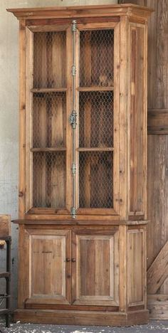 Tall Boy with French Lock, custom wood finish, custom paint finish, chicken wire doors, modern style, restoration style