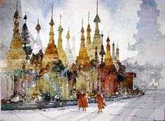 Malaysia - Watercolor by Chan Chang How.  Very beautiful use of working wet into wet.