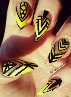 Yellow tribal nails