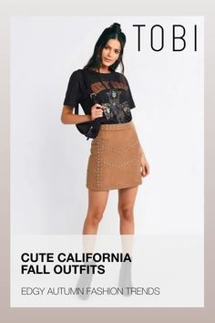 Cute California fall outfits including this trendy faux suede a-line skirt for women from TOBI. The best place to buy affordable autumn trendsetting edgy clothing and attire for ladies. Shop top fall fashion trends for teens, women, and juniors. #shoptobi #fallfashion #falltrends #falloutfits #autumnfashion #womensfashion #californiafashion #bodyconskirts #skirts #miniskirts #alineskirts #skirtoutfits Edgy Outfits, Cute Casual Outfits, Skirt Outfits, Fashion Outfits, Autumn Fashion Women Fall Outfits, Fall Fashion Trends, Edgy Clothing, California Fashion, Street Style Trends