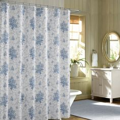 Blue French Floral Shabby Chic Shower Curtains Sets For Bathroom Intended Light Gray Curtain