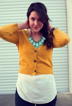 Love mustard yellow & the turquoise necklace.