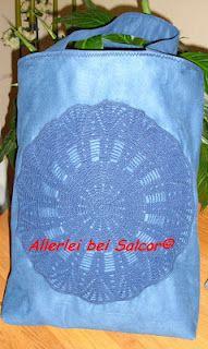 Tasche aus Gardine und Häkeldeckchen