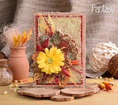 """FANTASY: Как я это делаю: """"Осенняя открытка с тканью"""""""