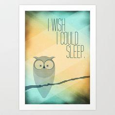 I Wish I Could Sleep Art Print by Guido Spugnoli - $17.00