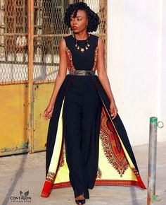 Combo African Jumpsuit from Etsy store 'African Dress Shop' African Fashion Designers, African Dresses For Women, African Print Fashion, Africa Fashion, African Attire, African Wear, African Fashion Dresses, African Women, African Prints