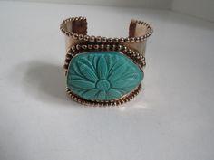 Stephen Dweck Bronze w/Flower Carved Turquoise Cuff Bracelet #StephenDweck #Cuff