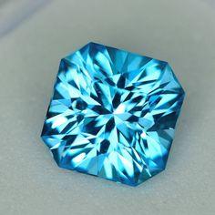 MJ2502 - 2.31ct electric blue Topaz - Brazil 7.27 x 5.71 mm clean, custom cut, irradiated, $85 shipped
