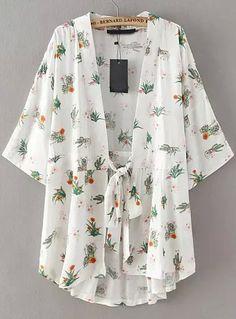 Product name: White Tie-waist Floral Loose Kimono at SHEIN, Category: KimonosFashionable Floral Print Lace-Up Sleeve Kimono Blouse For Women Kimono Fashion, Hijab Fashion, Boho Fashion, Fashion Outfits, Fashion Design, Kimono Blouse, Floral Kimono, Hipster Grunge, Mode Kimono