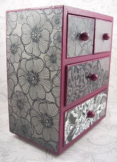 Plum Purple Black and White Stash Jewelry Box by pzcreations22, $23.50