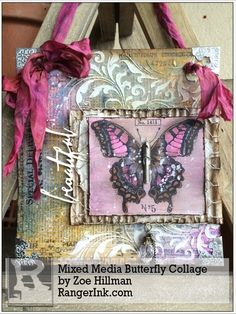 MIxed Media Butterfly Collage Decor by Zoe Hillman