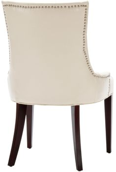 Safavieh Furniture MCR4515B - A buttoned-up elegance infuses the flat cream leather upholstered Amanda Chair. A high back, curved rear legs and modest sloped arms produce a sophisticate