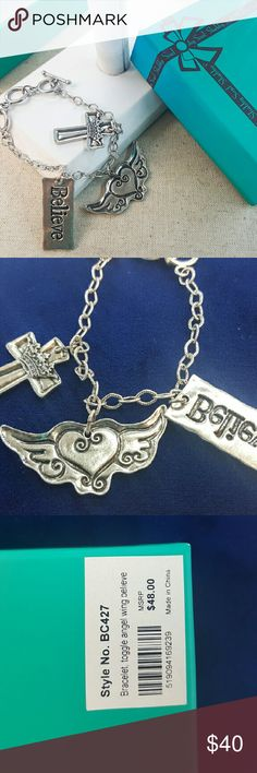 Sterling Silver Angel Wing Believe Cross Bracelet Necklace by Shabby Soul, Western style designer offers the best Sterling silver jewelry. Length: 8 inches. Shabby Soul Jewelry Bracelets