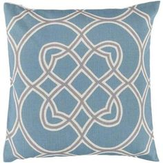 """22"""" Powder Blue, Clay Beige and Ivory White Trellis Decorative Square Throw Pillow - Down Filler"""