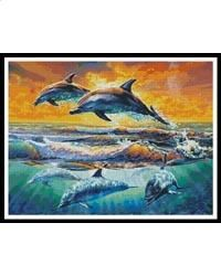 New DIY Diamond Painting Sea sunset dolphin Embroidery Full Square Diamond Cross Stitch Rhinestone Mosaic Painting decor Gift Cross Stitch Charts, Cross Stitch Patterns, Pictures To Paint, Painting Pictures, Pewter Grey, Aqua Marine, Tropical Fish, Cross Stitching, Dolphins