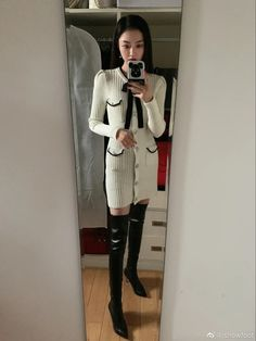 Winter Boots Outfits, Thigh High Boots, Thigh Highs, Fashion Styles, Asian Woman, Girl Hairstyles, Style Me, Footwear, Celebrities