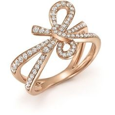 Diamond Bow Ring in 14K Rose Gold, .54 ct. t.w.