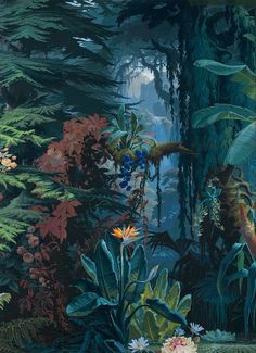 "clawmarks: ""Eden - Panoramic wallpaper - Joseph Fuchs, Manufacture D . - Selcen Acer - - clawmarks: ""Eden - Panoramic wallpaper - Joseph Fuchs, Manufacture D . Jungle Art, Wall Murals, Wall Art, Tropical Art, Of Wallpaper, Scary Wallpaper, Painted Wallpaper, Friends Wallpaper, Forest Wallpaper"