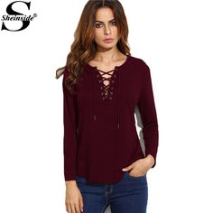 T shirt Women Lace Up Womens Long Sleeve Tops Fall Tees Ladies Shirt Curved Hem Casual Wear T-shirt Isn`t it awesome? Visit our store