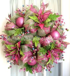 Deco Mesh Wreath Ideas | Deco Mesh CHRISTMAS Wreath Hot Pink Lime Green For Door or Wall ...