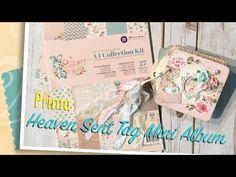 Prima Heaven Sent Tag Mini Album Diy Paper, Paper Crafts, Baby Photo Books, Baby Mini Album, Journal Pages, Junk Journal, Mini Album Tutorial, Heaven Sent, Album Book