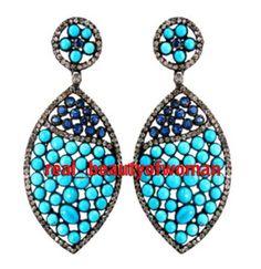 Art Nouveau 3.91c Pave Rose Cut Diamond Turquoise Sapphire Silver Earring Dangle #realbeautyofwoman #EarringsDangle