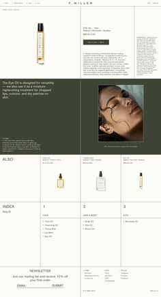 Miller Skincare on Behance Website Layout, Web Layout, Layout Design, Website Ideas, Minimal Web Design, Simple Web Design, Flat Design, Gfx Design, Design Page