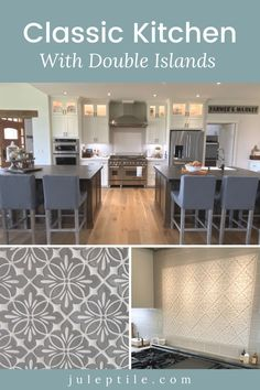 Check out this gorgeous kitchen - featuring double islands! It's a sight to behold. The two islands are strategically placed, so as to create a focal point with a stunning tile insert! We've got all the details on this incredible kitchen! Backsplash Ideas, Tile Ideas, Kitchen Backsplash, Kitchen Cabinets, Kitchen Inspiration, Kitchen Ideas, Design Inspiration, Design Ideas, Double Island Kitchen