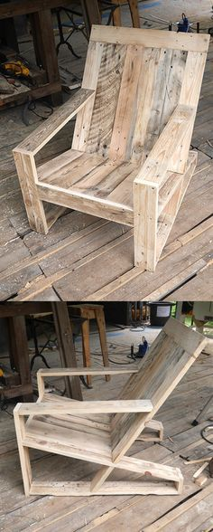 Recycled pallet rocking chair pallet ideas pinterest for Fauteuil palette plan