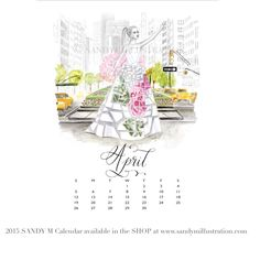 The first SANDY M 2015 Fashion Illustration Calendar is available now! All of the girls in the illustrations are wearing gowns from designer spring summer 2015 collections! April's girl (surely drawing plenty of attention in her #carolinaherrera #houseofherrera gown as she flags a cab amidst the blooming tulips on Park Avenue!) ✨ CALENDAR AVAILABLE AT www.sandymillustration.com #illustration #fashion #calendar #sandym2015calendar