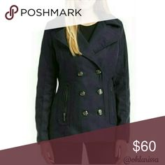 Navy Double-Breasted Peacoat For warmth and style, pick this fashionable peacoat. This item runs small.  90% Polyester 10% Wool Linning is 100% Polyester Dry Clean only Yoki Jackets & Coats Pea Coats