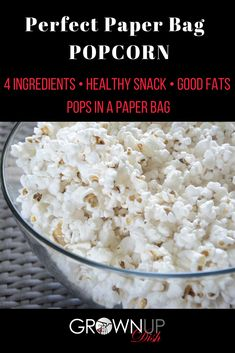 Learn to make healthy paper bag popcorn with just a few ingredients. It's full of fiber and healthy fats. Never eat movie theater popcorn again. Healthy Popcorn, Popcorn Recipes, Healthy Snacks, Healthy Fats, Healthy Recipes, Easy Recipes, Free Recipes, Keto Recipes, Eat Movie