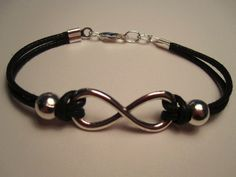Infinity Wrap Silver Bracelet  Black Cotton Cord by FacetsFirst, $17.00