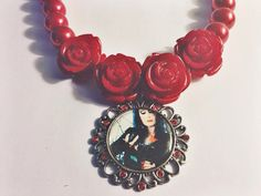Morticia Addams Red Rose Beaded Necklace on Etsy, $12.00