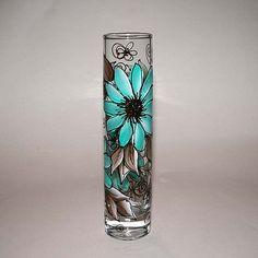 Bud Vase - Teal & Brown Daisy Motif