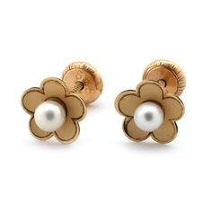14k Gold Flower with White Freshwater Cultured Pearl Center Stud Earrings with Baby Safe Screwbacks