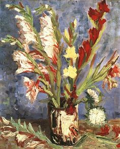 Vase with Gladioli | Vincent Van Gogh | oil painting #vangoghpaintings