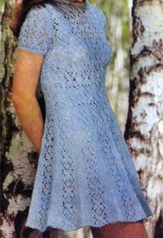 Frost-looking light summer knitted dress (pattern and scheme  included).