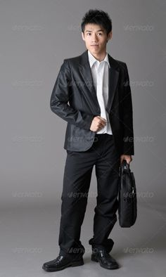 Immature business man ...  Immature, asia, asian, attractive, background, black, briefcase, business, businessman, businessmen, businesspeople, businessperson, career, character, china, chinese, corporate, east, eastern, employee, employment, expression, face, facial, figure, formal, friendly, gray, grey, handsome, isolated, japan, japanese, look, male, man, office, one, oriental, portrait, pose, satisfied, standing, studio, suit, young