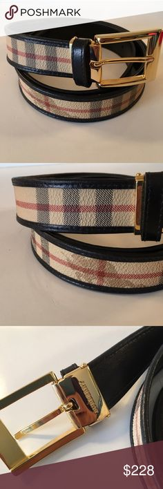 BURBERRY BELT 100% AUTHENTIC BURBERRY SIZABLE BELT 100% AUTHENTIC. IT IS STUNNING CONDITION. THE BUCKLE CAN BE REMOVED TO BE MADE SMALLER TO FIT ANYONE. THE CURRENT SIZE IS 105/42 but remember it can be made smaller Burberry Accessories Belts