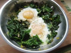 Skillet Poached Eggs (recipe calls for spinach.  I used kale and it was delicious!  Mushrooms added would be good too...)