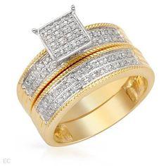 Genuine Morne Rouge (TM) 14K Two Tone Gold Ladies Ring with 0.45 Ctw. Diamond Stones. Finger Size 7. 100% Satisfaction Guaranteed. - Rellek ...