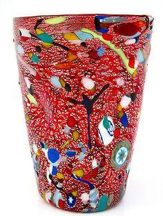 Signed with Certificate Murano Millefiori Murrine At Glass Vase by Zecchin D'art