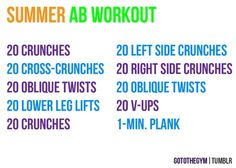Summer workout schedule - abs